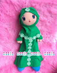 Boneka Muslimah MeelaMeelo Turban Bunga Hijau1