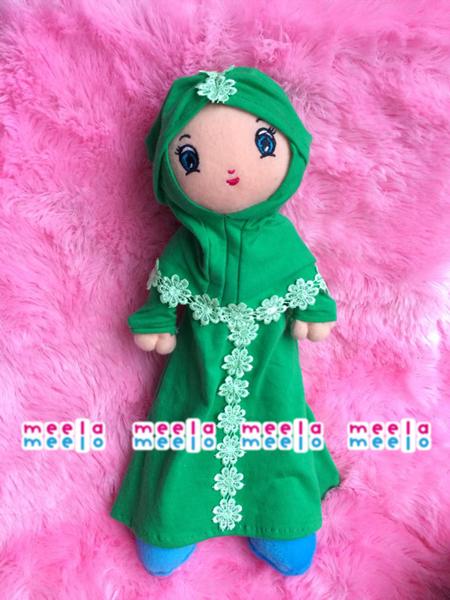 Boneka Muslimah MeelaMeelo Turban Bunga Hijau