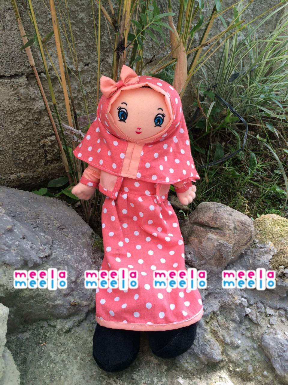 Boneka Muslimah Meela Meelo Orange Polkadot