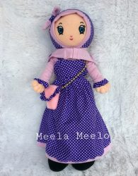 Boneka Muslimah Meela Meelo Polkadot Purple in Casual Style