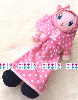 Boneka Muslimah Meela Meelo in Pink Polkadot