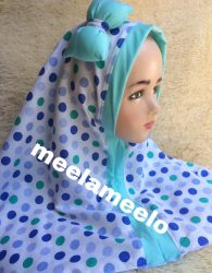 Hijab Anak Muslimah Kekinian in Polkadot and Green Tosca