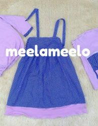 Baju Boneka Muslimah in Purple and Polka Blue