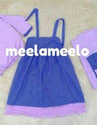 Baju Boneka Muslimah in Purple and Polka Blue