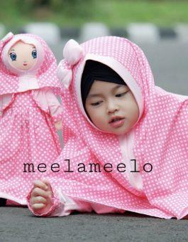 Paket Gamis dan Hijab Anak Muslimah in Pink