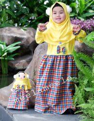 Paket Gamis dan Hijab Anak Muslimah in Yellow