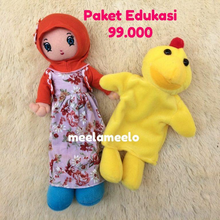 Paket Edukasi Boneka Muslimah Orange dan Boneka Tangan