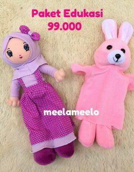 Paket Edukasi Boneka Muslimah Purple dan Boneka Tangan