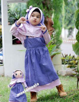 Paket Gamis Anak dan Boneka Muslimah Purple