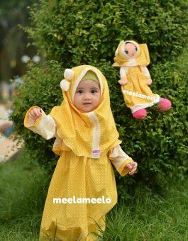 Paket Gamis Anak dan Boneka Muslimah Yellow