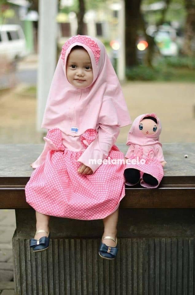 Gamis Anak Muslimah Karakter Kelinciku in Light Pink