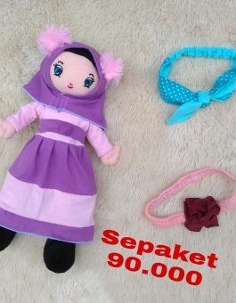 Paket Boneka Muslimah dan Headband Anak in Pita Purple