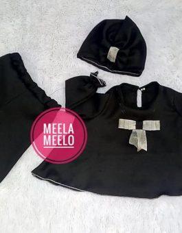 Set Baju Celana Kulot dan Turban Anak in Black