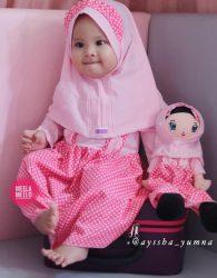 Set Gamis Anak Kelinciku Dengan Boneka Muslimah Murah