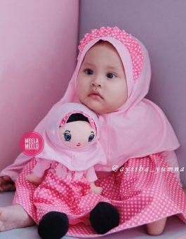 Set Gamis Anak Kelinciku Pink Polkadot