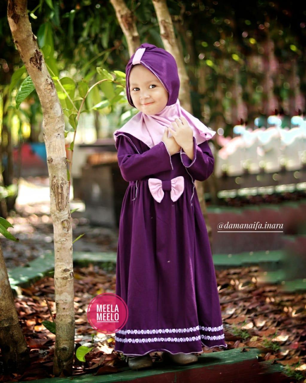 Gamis Fania in Purple Busana Anak Muslimah Kekinian