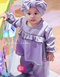Paket Kulot Anak Murah Bahan Wolly Crepe in Purple
