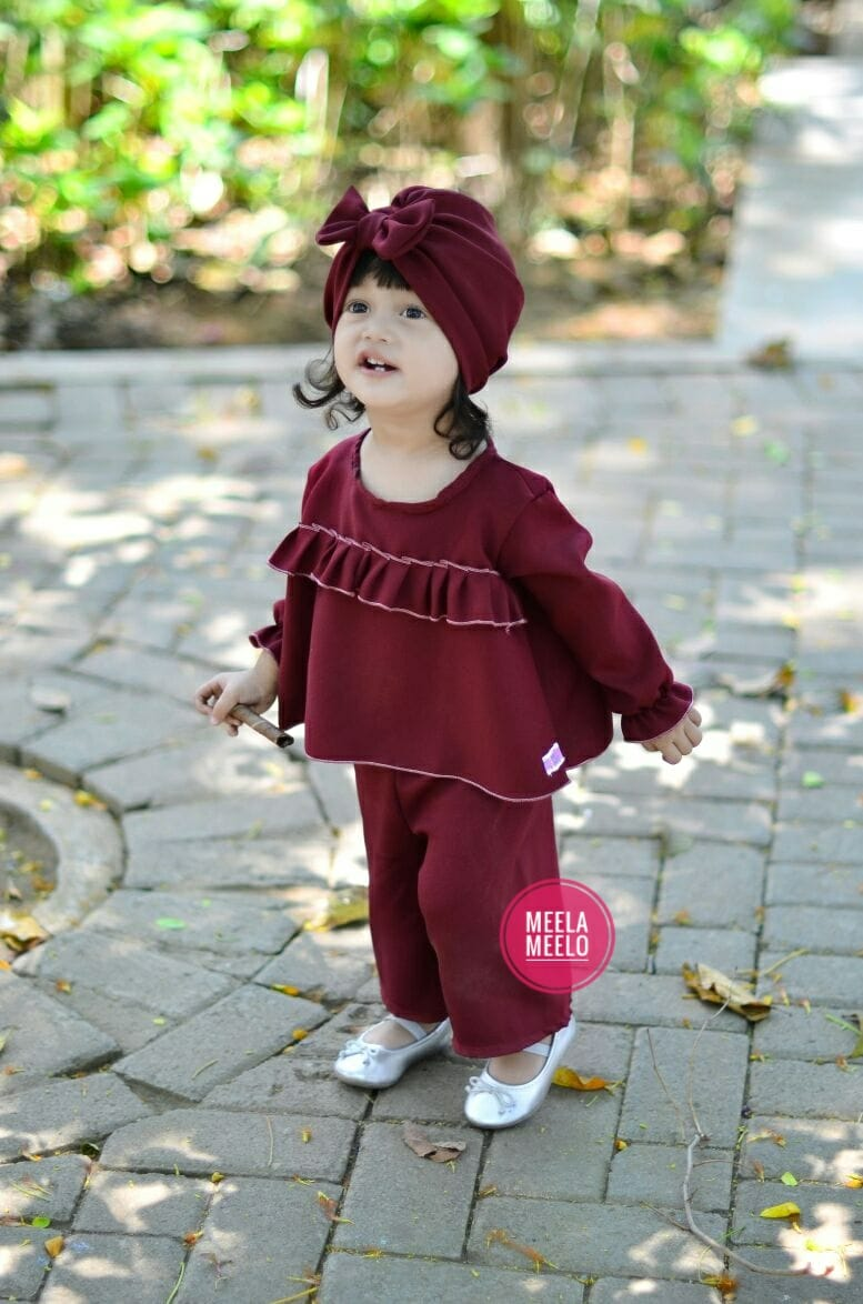 Set Kulot Anak Murah Bahan Wolly Crepe in Maroon