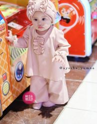 Paket Kulot Anak Murah Bahan Wolly Crepe in Peach