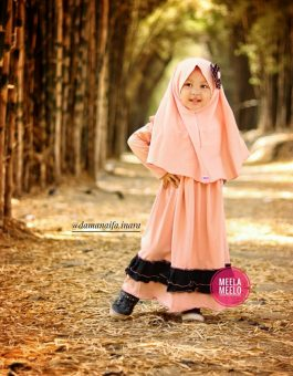 Gamis Natasya Untuk Anak Muslimah in Peach