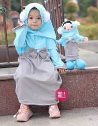 Gamis Pompi in Grey and Blue