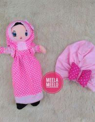 Paket Boneka dan Turban Anak Muslimah in Pink