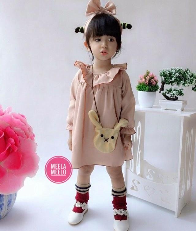 Paket Dress Hana Tas dan Headband Cream Edition