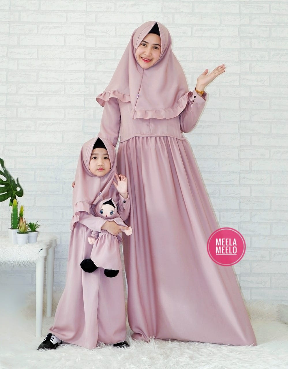 Gamis Couple Mom and Kids in Dusty Pink