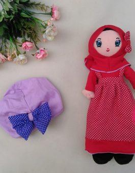 Paket Boneka dan Turban Anak Muslimah in Red Purple