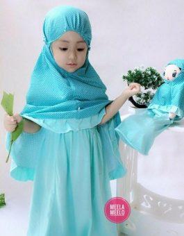 Paket Mukena Motif Anak dan Boneka Muslimah in Blue Tosca