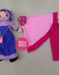 Paket Mukena Polos dan Boneka Muslimah in Dusty Pink