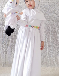 SALE Paket Gamis Anak Muslimah Murah Model Eliza in White