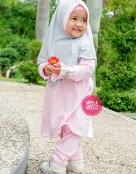 Gamis Malika Anak Muslimah in Pink Mix Grey New Edition