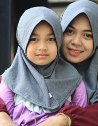 Hijab Couple Mom and Kids in Grey