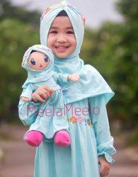 SALE Gamis Anak Blue Tosca Plus Boneka Muslimah (2in1)
