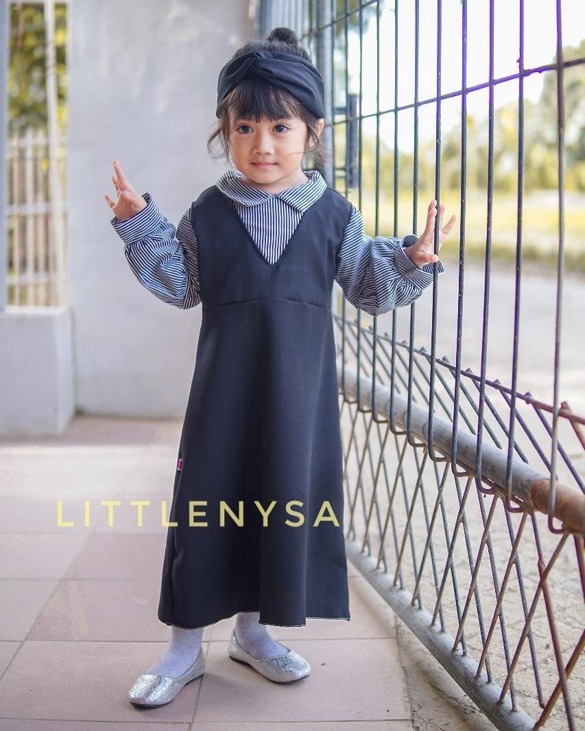 Paket Dress Audrey Free Bandana Black Edition untuk Seragam Paud
