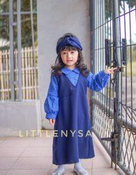 Paket Dress Audrey Free Bandana Navy Edition untuk Seragam Paud