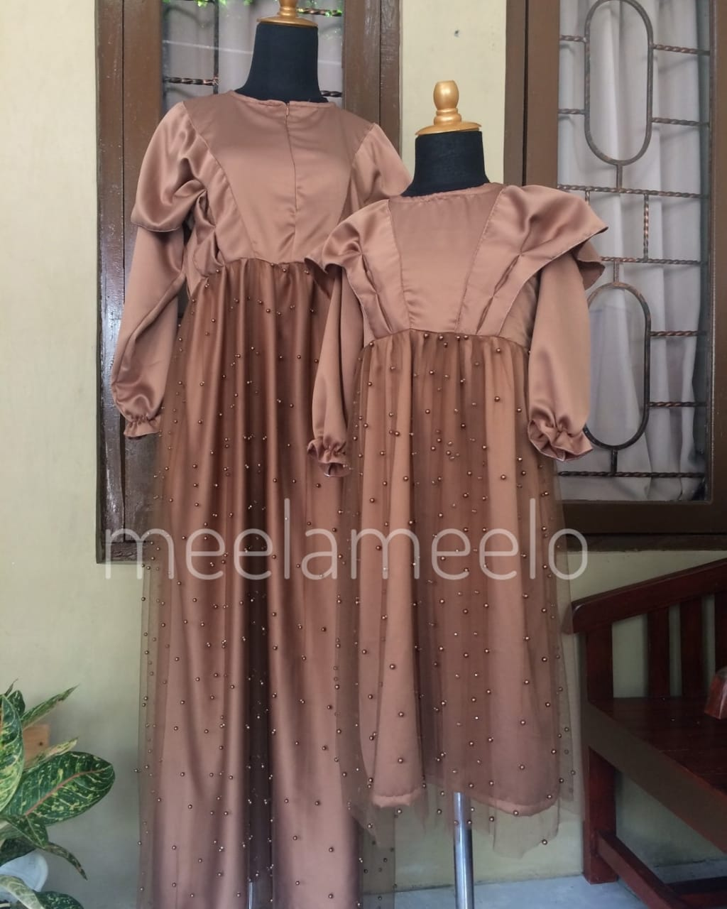 Gamis Couple Mom and Kids Ramadhani in Brown