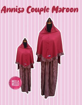 Gamis Couple Mom and Kids Annisa in Maroon