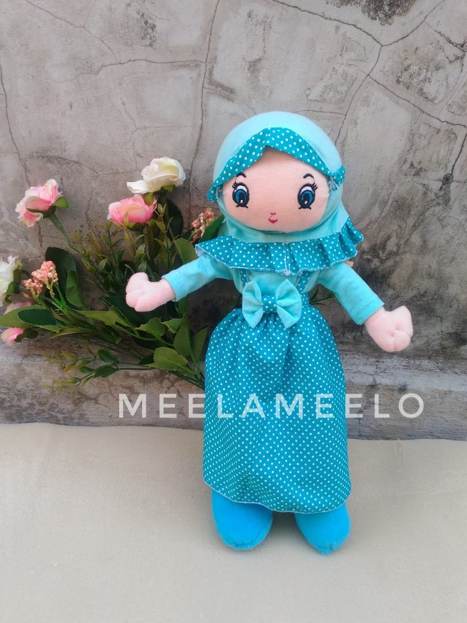 Promo Boneka Muslimah in All Blue Polka  60K ONLY