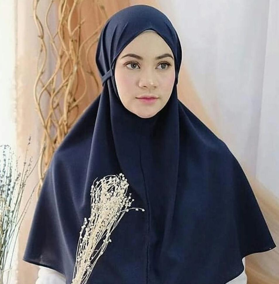 Jilbab Instan Tali in Dark Blue