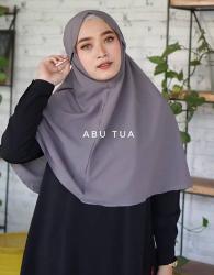 Mom Edition Jilbab Instant Abu Tua Cantik Elegan